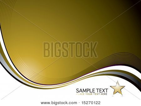 Golden background with a flowing design and space for a logo