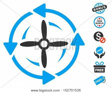 Screw Rotation pictograph with free bonus pictograph collection. Vector illustration style is flat iconic symbols blue and gray colors white background.