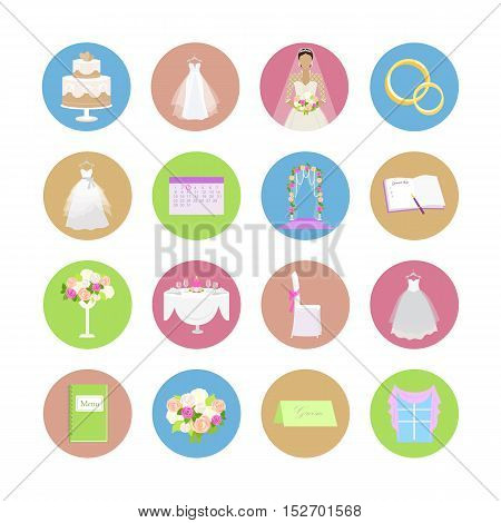Set of wedding icons. Flat design vector. Collection of color round icons with wedding ceremony attributes. Preparation for marriage. For wedding organizing company ad, app pictograms, web design