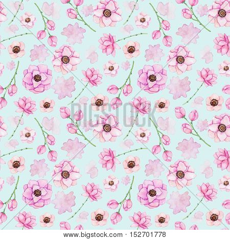 Seamless Pattern with Watercolor Light Pink Flowers and Spots on Light Blue Background