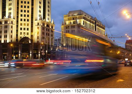 night traffic in Moscow, Russia