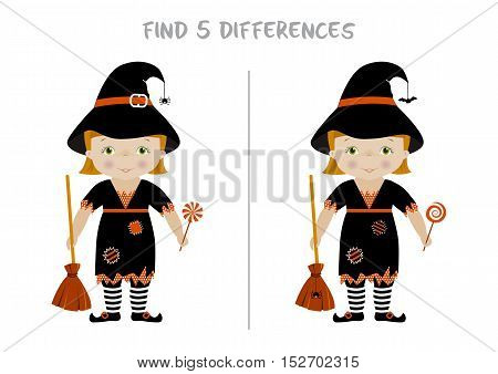 Halloween themed spot the difference educational game for kids, Witch with broom and candy. A4 format ready for print.