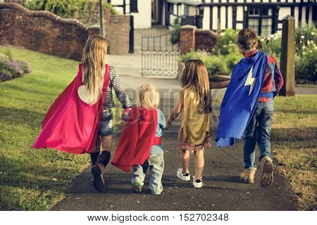 Superheroes Group of Kids Freedom Imagination Concept