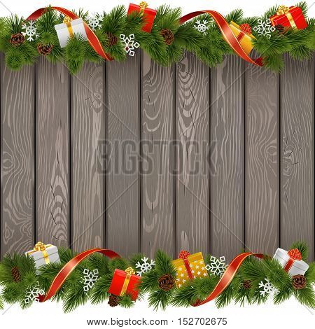 Vector Seamless Christmas Old Board with Gifts isolated on white background