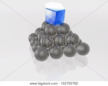Blue prism and grey spheres as abstract background 3D illustration.