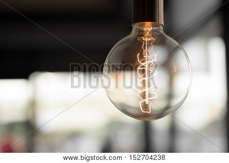 Beautifully designed light bulb in a modern office