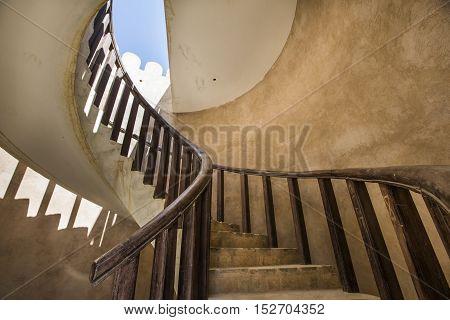 inside a tower in Wakan village in Oman