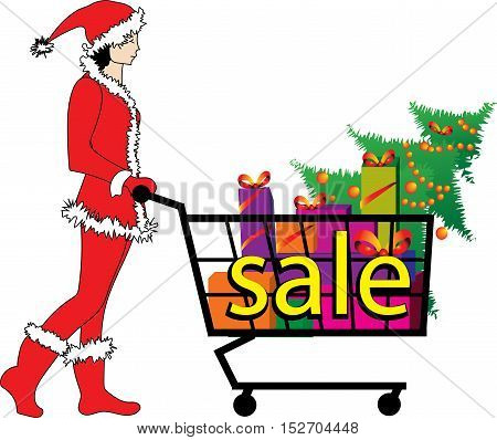 vector illustration for sale - Christmas elf