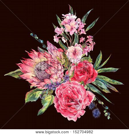 Classical vintage floral greeting card, watercolor bouquet of roses, protea, stachys, thistles, blackberries and wildflowers, botanical natural watercolor illustration isolated on black background