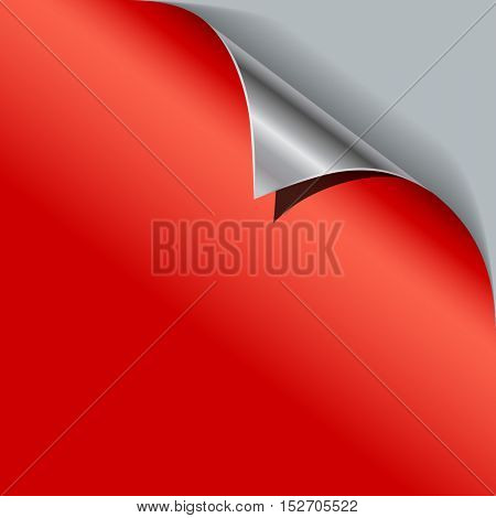 Red paper curled metallic corner vector template.