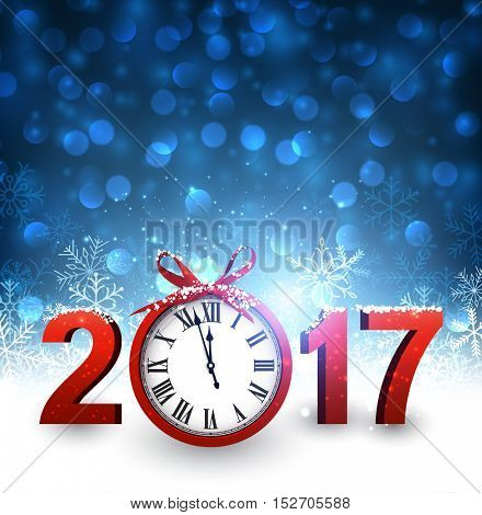 2017 New Year blue background with clock and snowflakes. Vector illustration.