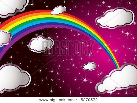 Abstract dream image with rainbow and sparkling stars and clouds