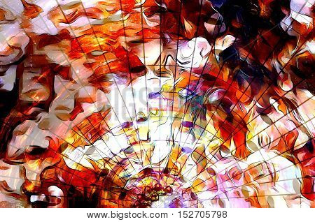 music note and Space with stars. Fire flames and abstract color background. Music concept