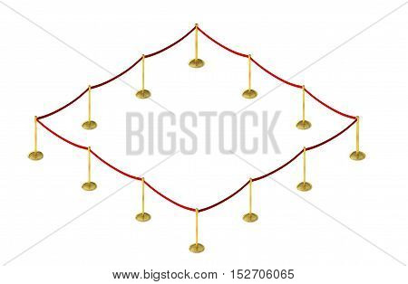 Mobile fence barrier with red belt and velvet carpet stand isolated on white. isometric 3d render
