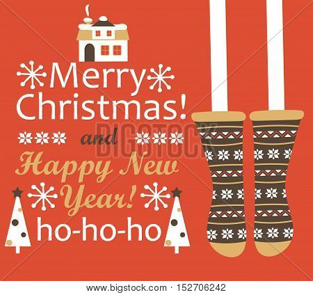 Merry Christmas and Happy new year Greeting Card. Christmas stocking. Vector illustration.