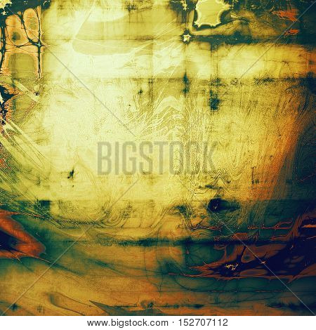Vintage elegant background, creased grunge backdrop with aged texture and different color patterns: yellow (beige); brown; green; blue; red (orange); black