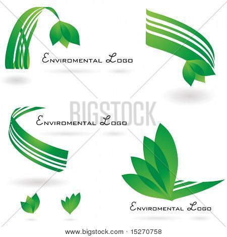 environmental set of logos with drop shadow and leaf