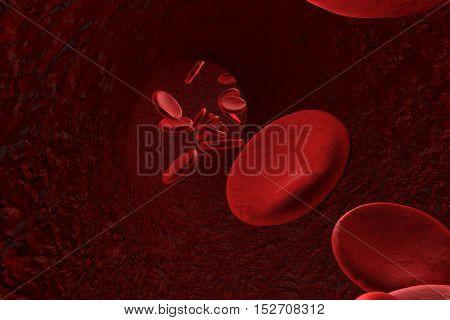 Blood vessel with red blood cells, 3D illustration