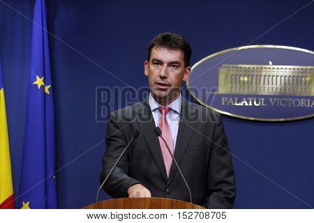 BUCHAREST ROMANIA - OCTOBER 19 2016: Romanian Minister of Internal Affairs Dragos Tudorache speaks at a press conference at Victoria Palace.