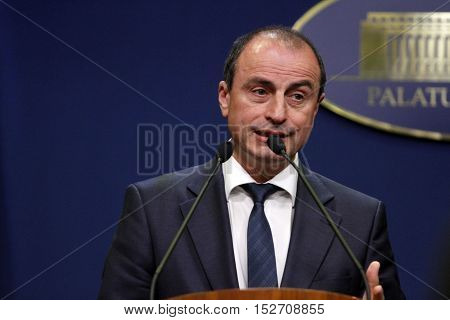 BUCHAREST ROMANIA - OCTOBER 19 2016: Romanian Minister of Agriculture and Rural Development Achim Irimescu speaks at a press conference at Victoria Palace.
