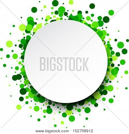 Paper round white background with green confetti. Vector illustration.