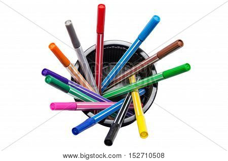 Different Colored Markers In Metal Stand Isolated