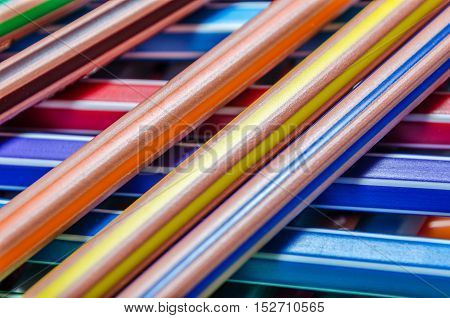 Background Of Different Colored Pencils Texture Image