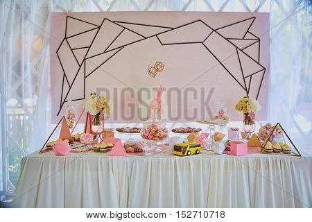 The dessert table for a wedding party.