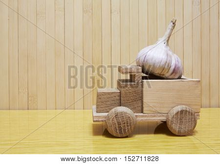 Toy Wooden Car With Garlic