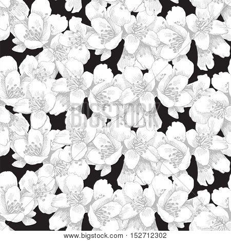 Seamless pattern with hand drawn jasmine