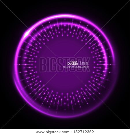 Abstract techno background with spirals and rays with glowing particles. Tech design. Lights vector frame. Glowing dots. purple, lilac, mauve, violet, magenta