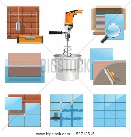 Vector Laying Tiles Icons isolated on white background