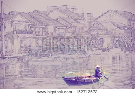 Traditional boats in Hoi An. Hoi An is the World's Cultural heritage site, famous for mixed cultures architecture. Vintage painting, background illustration, beautiful picture, travel texture