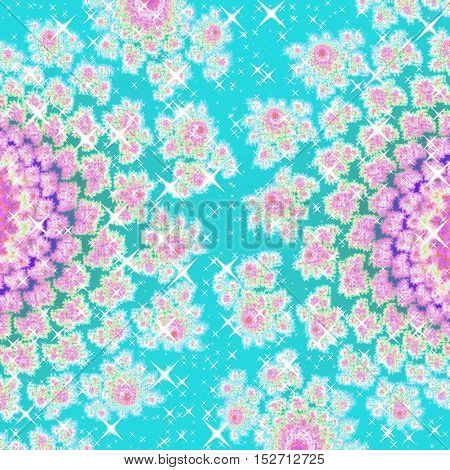 Azure blue and pink glowing abstract two graphic flowers image