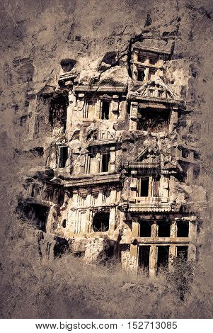 ancient city of Myra, Antalya, Turkey. Vintage painting, background illustration, beautiful picture, travel texture