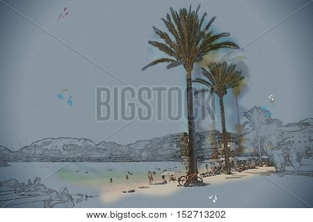 View of the beach of Port de Soller, Balearic islands, Spain. Vintage painting, background illustration, beautiful picture, travel texture