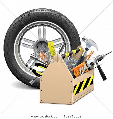 Vector Wheel with Toolbox isolated on white background