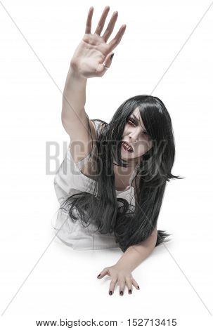 Mystical Vampire Woman In White Long Shirt
