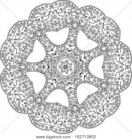 Oriental Zentangle Anti-stress Therapy Pattern, Vector Illustration
