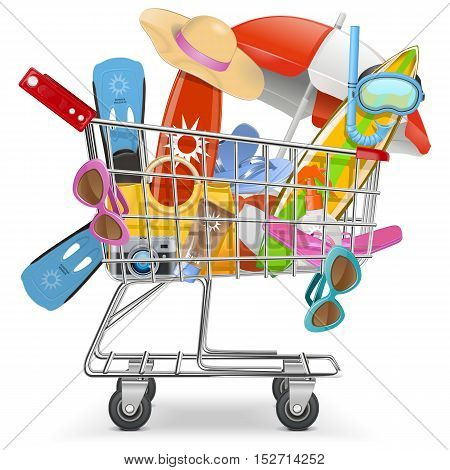 Vector Cart with Beach Accessories isolated on white background