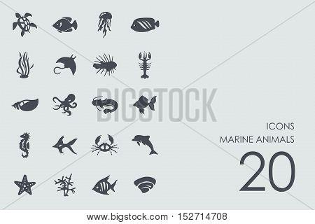 marine animals vector set of modern simple icons
