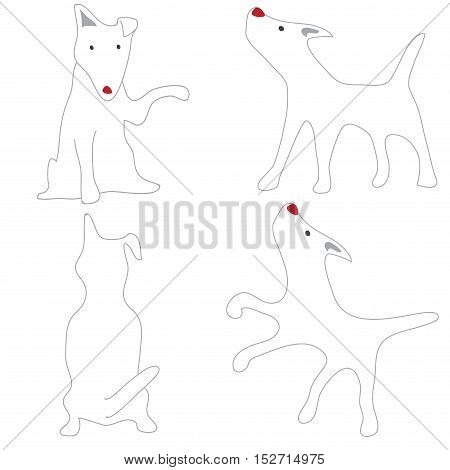 Bull Terrier White Dog Acting Cute cartoon abstract design on white background isolate.