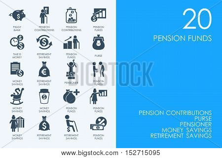 BLUE HAMSTER Library pension funds vector set of modern simple icons
