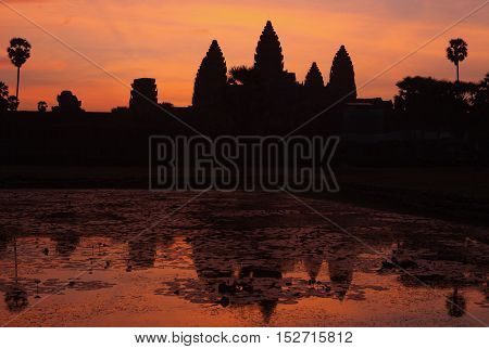 Red Sunrise over the Angkor Wat temple, Cambodia
