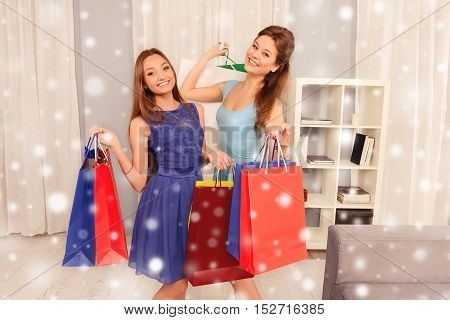 Beautiful Young Girls Holding Shopping Bags, Christmas Concept