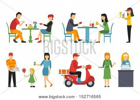 Pizzeria icons set. People in a flat interior. Cashier, Deliveryman, Customers, Bistro, Waiters, Delivery, Scooter. Pizza conceptual web vector illustration.