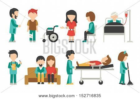 Medical Staff Flat, Isolated On White Background, Doctor, Nurse, Care, Collection People Vector Illustration, Graphic Editable For Your Design