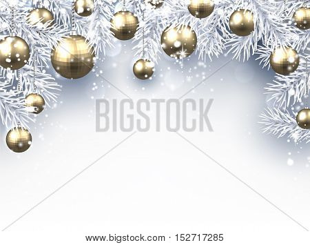 New Year background with Christmas balls and fir branches. Vector illustration.