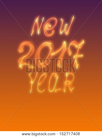 Happy new year 2017 isolated numbers written with flame light on gradient background.