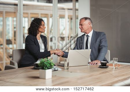 Mature businessman and young work colleague shaking hands while sitting together at a table in an office boardroom
